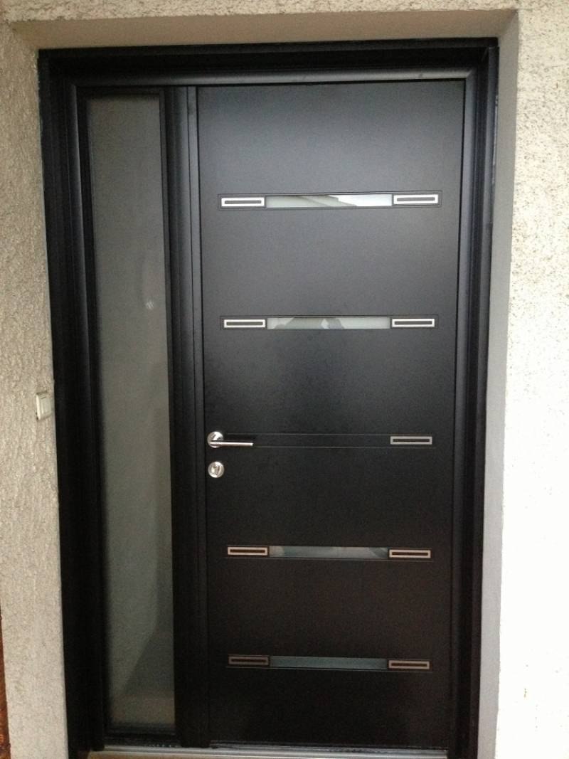 Porte d 39 entr e aluminium contemporaine sur mesure for Portes interieures bois contemporaines