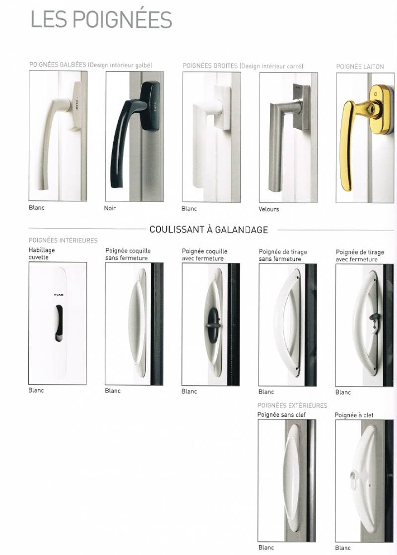 Nos différentes poignées pour fenêtres aluminium ouverture à la française. - Menuiseries Doumenc