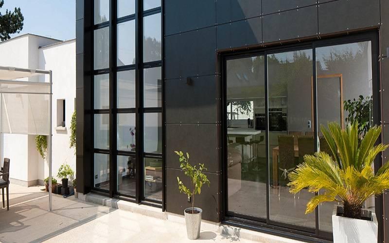 Fenêtre Coulissant Et Porte Dentrée Alu Coloris Noir Sablé à